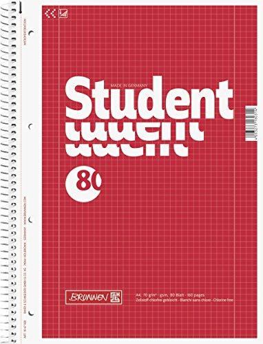 Brunnen 1067928 Notizblock / Collegeblock Student (A4, kariert, Lineatur 28, 70 g/m², 80 Blatt)
