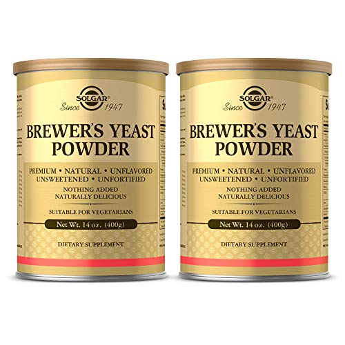 Solgar Brewer's Yeast Powder, 14 oz - 2 Pack - Rich Source of Amino Acids, B-Complex Vitamins, Minerals, & Protein - Natural, Unflavored, and Unsweetened - Dairy Free, Vegetarian - 26 Servings