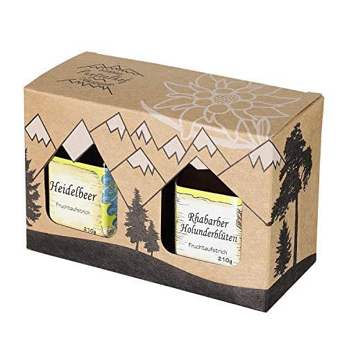 Allgäuer Genuss-Box - Feinkost Geschenk-Set 2 x 210g Delikatessen Fruchtaufstrich - Attraktives Geschenkset aus Kraftkarton