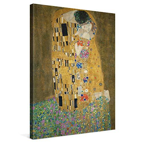 PICANOVA – Gustav Klimt The Kiss 60x80cm – Cuadro sobre Lienzo – Impresión En Lienzo Montado sobre Marco De Madera (2cm) – Disponible En Varios Tamaños