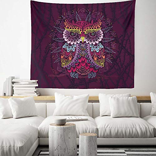 Tuewut Purple Throns Owl Totem Tapestry Wall Hanging Psychedelic Mandala Mystical Hippie Tapestry for Bedroom Living Room Decor (50.4
