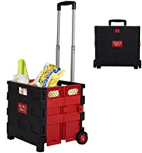 Dporticus Folding Two-Wheeled Trolley Hand Cart Plastic Hefty Heavy Carry Shopping Picnic Travel Office (Red/Medium)
