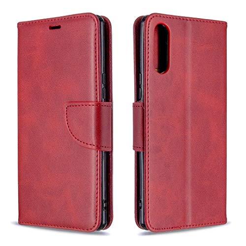 Hangmao Teléfono Móvil Protección de la Caja para Sony Xperia L4 Retro Cordero Textura Color Puro Flip Horizontal Flip PU Funda de Cuero con Soporte y Ranuras para Tarjetas y Filtera (Color : Red)