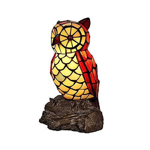 Eule Tiffany Stil Tischlampe 9.8 Zoll Handgefertigte Glasmalerei Tischleuchte Schlafzimmer Kinderlampe Muttertagsgeschenk Nachtlicht Lampe Tisch-Leuchte E14*1