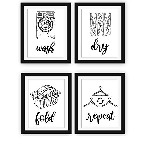 Modern 5th - Laundry Room Signs (Set of 4 Unframed - 8 x 10 Inches), Wash Dry Fold Repeat, Typography Wall Art Decor Prints, Black and White Print Unframed