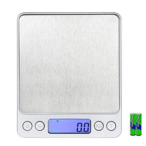 WAOAW 0.01oz/0.1g 3000g Digital Pocket Stainless Jewelry & Kitchen Food Scale, 0.01oz Resolution