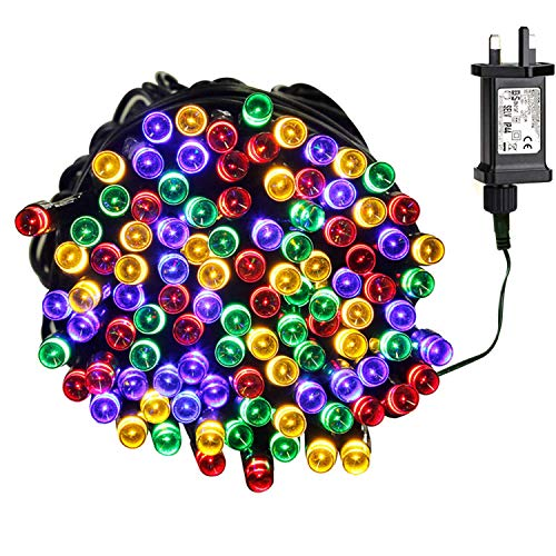 Tuokay Super Bright Plug in Fairy Lights, 23m 200 LED 8 Twinkling Modes Indoor String Lights, Decorative Christmas Lights for Xmas Tree, Gazebo Patio Lawn Yard Fence Wedding Ornament (Colors)