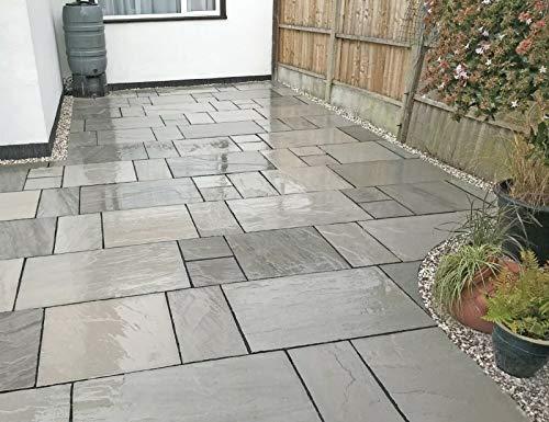 Natural Kandla india gris plata arenisca cortada a mano patio al aire libre paquete mezcla tamaño azulejos losas banderas 15,25 m2 jardín piedras decorativas
