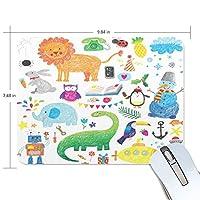 マウスパッド かわいい 子供絵 鉛筆絵 動物柄 ライオン 雪ダルマ ロボット キュート 高級 ノート パソコン マウス パッド 柔らかい ゲーミング よく 滑る 便利 静音 携帯 手首 楽