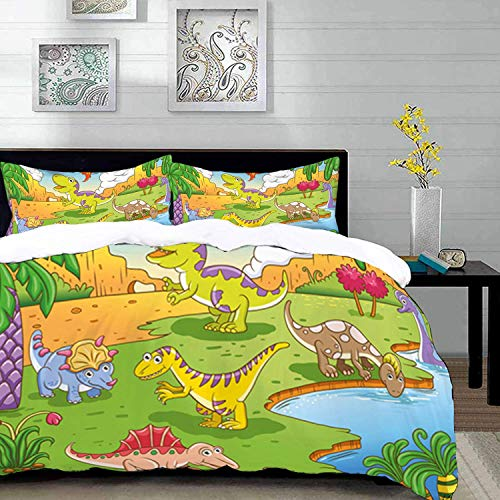 Qoqon bedding - Duvet Cover Set, Nursery,Cartoon Style Animals in Prehistoric Scene Meadow Trees and Flowers,Brown Beige,Microfibre Duvet Cover Set with 2 Pillowcase 50 X 75cm
