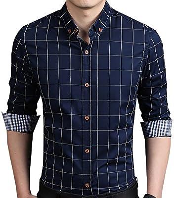 Sandbank Men's Casual Slim Fit Plaid Long Sleeve Button Down Dress Shirt