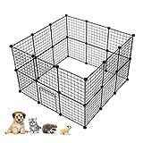 LeKu Joycelzen - Parque de juegos para mascotas, jaula de alambre de metal con...