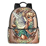 Tinkerbell and Fairy (53) Black Backpack Zipper School Bag Travel Daypack Unisex Adult Teens Gift