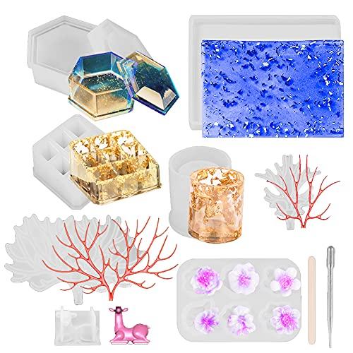Iriisy 23pcs 3D Moldes de Resina de Silicona Epoxi, Bandeja de Exhibición de Joyería de Maquillaje, Organizador de Lápiz Labial, Caja de Almacenamiento,10 Varillas para Mezclar, 5 Gotas de Plástico