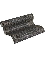 A.S. Création Vliesbehang Trendwall behang in krokodillenlook 10,05 m x 0,53 m metallic zwart Made in Germany 371003 3710-03