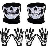 2 Set de Guantes de Esqueleto Blancos y Máscara Facial de Cráneo Huesos Fantasma para Adultos Halloween Fiesta de Disfraces