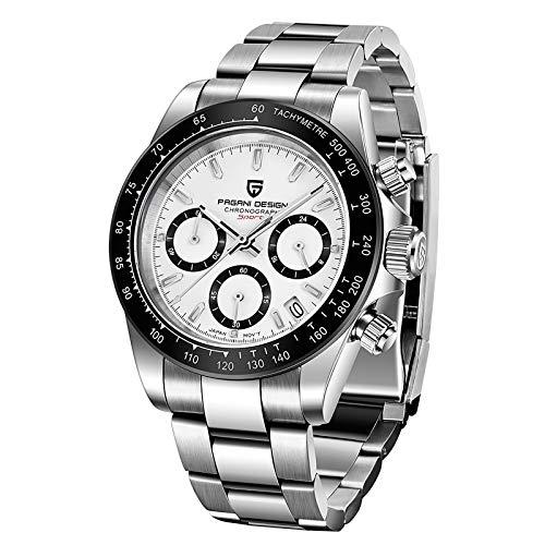Pagani Design Herrenuhr Japanisches Quarzwerk 30M wasserdichte multifunktionale Chronographen-Armbanduhr für Herren Synthetisches Saphirglas Edelstahlarmband
