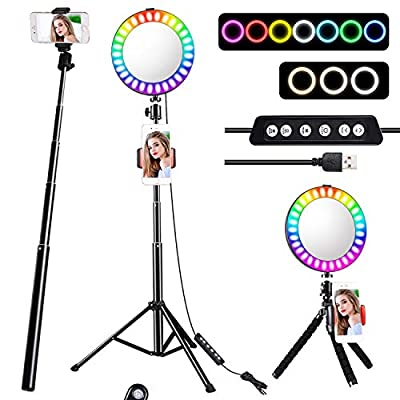 RGB Ring Light,Selfie Ring Light with Tripod Stand/Phone Holder/HD Mirror, Dimmable LED Ring Light with USB for Make-up,YouTube Video,Photography,Tiktok,Compatible with iPhone Android from GLANDU