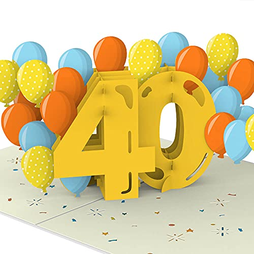 PaperCrush® Pop-Up Karte 40. Geburtstag [NEU!] - Besondere Geburtstagskarte für Frauen und Männer (40 Jahre), Glückwunsch zum 40ten Geburtstag - Handgemachte Glückwunschkarte inkl. Umschlag