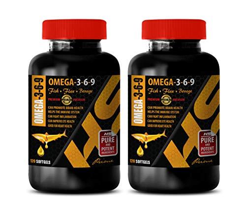 Brain Health Formula - Omega 3-6-9 Premium Complex with Fish, Flax & Borage - Omega 3 Inflammation - 2 Bottles 240 Softgels