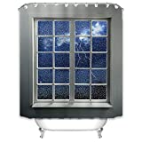 X-Labor Regen Fenster Duschvorhang 240x200cm Wasserabweisend Stoff Anti-Schimmel inkl. 12 Duschvorhangringe Waschbar Badewannevorhang 240x200cm Muster-F