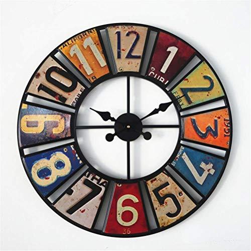 Yuany Große dekorative Wanduhren, Vintage Vintage Uhr aus Eisen, rund, lautlos, Nicht tickend, für Wohnzimmer, Büro, Café, Hotel und Bar, 60 cm Durchmesser