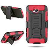 CoverON Red Soft Silicone + Black Hard Plasic Hybrid Holster Combo Case/Kickstand Cover with Belt Clip for LG Optimus L70 Exceed 2 Realm Pulse Ultimate 2 L41C