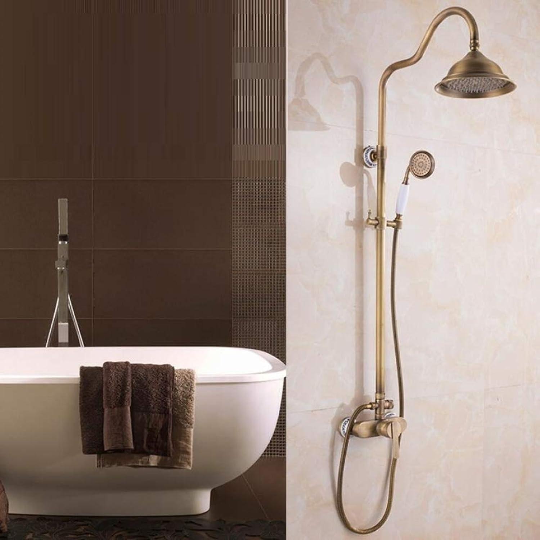 ZXY Bathroom Shower Mixer Set European style bathroom Copper shower set, Bathroom Faucet Set with Rain Shower Head and Handheld