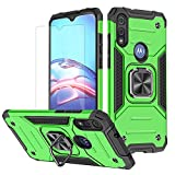 Moto e 2020 Case,Motorola E Case with HD Screen Protector, HNHYGETE Shockproof Tough Rugged Hard Rubber Bumper with 360 Rotation Ring Kickstand Cases for Moto E 2020 (Green)