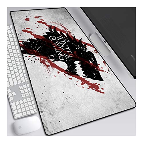 ITBT Game of Thrones Alfombrilla Raton Anime Gaming Mouse Pad XXL 800x300x3 mm,Impermeable con 3mm Base de Goma Antideslizante,Special-Textured Superficie para Ordenador, PC y Laptop, H