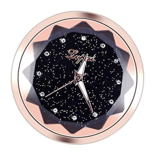 Baoblaze Relojes Analógico de Cuarzo Adhesivo de Doble Cara Decoración de Coche Automóvil Hecho de Vidrio de Alta Calidad - dorado