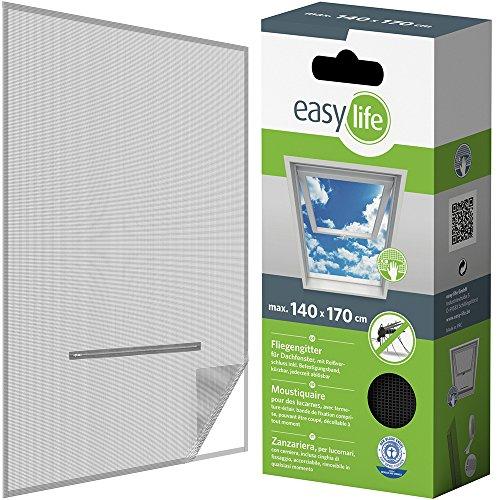 EASY LIFE Malla mosquitera Ventanas de Techo 140 x 170 cm - Mosquitera con Cremallera y 5,6 m de Velcro, Sencilla y rápida protección contra los Mosquitos, Color:Antracita