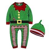 WEIMEITE 2PCS neugeborenes Baby Jungen Mädchen Spielanzug Karikatur Weihnachtsoveralls Bebe scherzt Kleidung Strampelanzüge + Hüte Säuglings Kleidungs Anzüge Grün 90cm