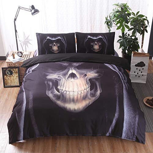Zzh 3Pcs 3D Printed Skull Bedspread with Pillowcase Bedding Set King Duvet Cover, Bedspreads For Adult Boys Quilt Cover,175 * 218cm