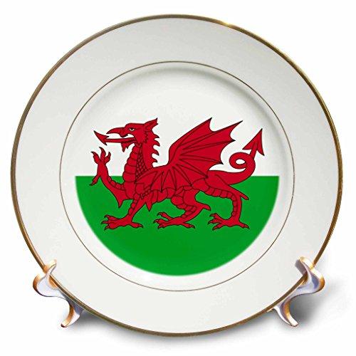 3dRose CP 158289_ 1Flagge von Wales Welsh Red Dragon auf Weiß & Grün Y Ddraig Goch UK United Kingdom Großbritannien Porzellan Teller, 20,3cm