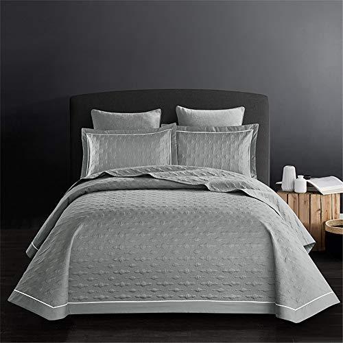 Baumwolle Gesteppte Bettdecke Bettüberwurf 3 Stück Köper Bettdecke Geprägt Gesteppte Tagesdecke Einfach Bettwäsche-Set Mit 2 Kissenbezügen König 245 * 250CM,Grau