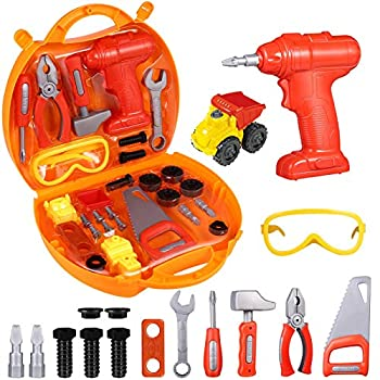 iBaseToy Toddler Tool Set Pretend Play Tools for Kids 29 Pcs Kids Tool Box for Kids Ages 3-5| Kids Toy Drill Tools | Take Apart Vehicle Toy | Construction Accessories Toy Gift
