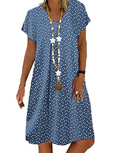 XINYA BAO - Vestido de playa para mujer, tallas grandes, para verano, manga corta, cuello en V, largo hasta la rodilla azul claro XXL