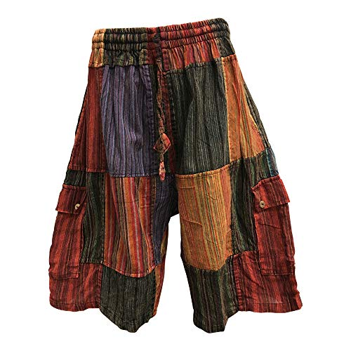 Yoga Trendz Men's Ethnic Print Stonewashed Cotton Patchwork Cargo Shorts (Medium)