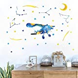 Poorminer Watercolor Airplane Wall Stickers, Space Stars Moon Wall Decals, Vintage Aircrafts DIY Removable Murals for Nursery Playroom Kids Boys Bedroom Decoration, Peel and Stick Wallpaper, Art Decor