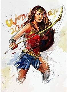wqmdeshop Wonder Woman Ink Style HD Poster Pintura De Lienzo Decoración De Hogar Habitación De Niños Pintura Sin Marco 50X70Cm (N: 4332)