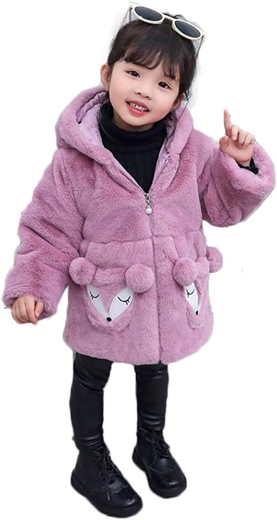ASHER FASHION Little Big Girls Winter Outfit Fleece Lined Sherpa Fur Jacket with Hood Thick Coat