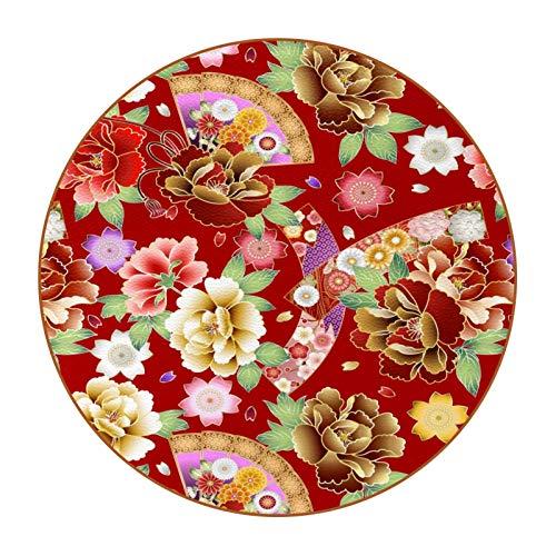 Posavasos para bebidas, posavasos para decoración del hogar, gran decoración del hogar y comedor, regalo de inauguración de la casa, 10 cm, diseño floral de peonía japonesa, color rojo