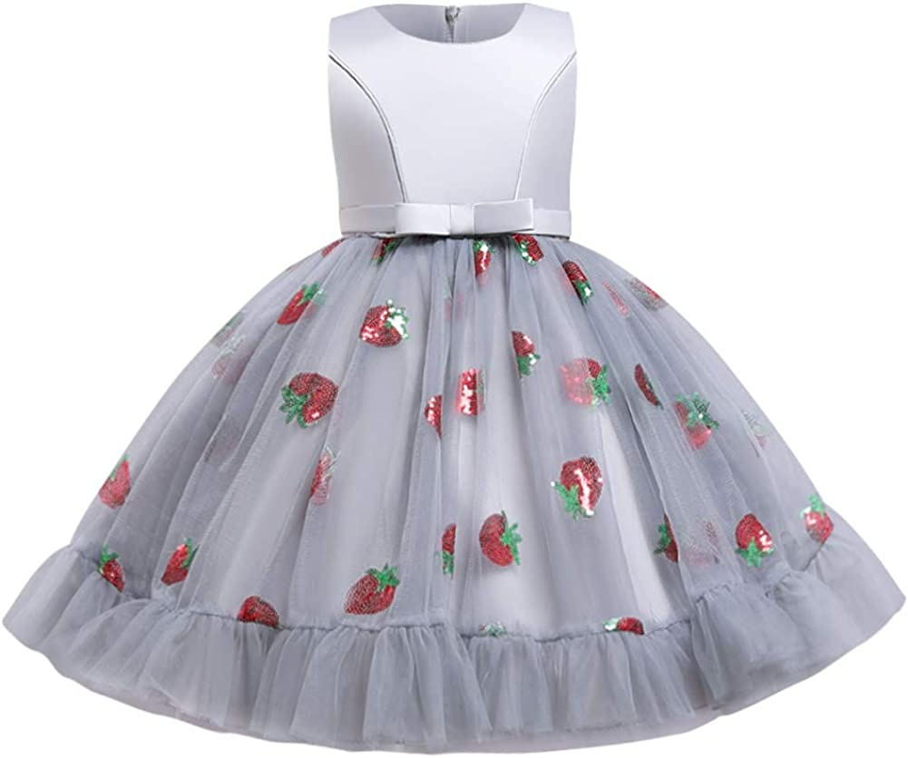 Girls Floral Shiny Strawberry Embroidery Princess Dress Kids Flower Ruffles Communion Party Pageant Wedding Formal Gown