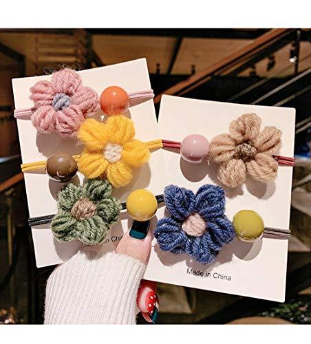 THTHT Haarring voor meisjes, elastische haarband, 5 stuks, van wol, bloemen, hoofdbedekking, vrouwelijk haar, met paardenstaart, elastiek, haarbundel