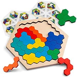 Coogam Wooden Hexagon Puzzle for Kid Adults - Shape Pattern Block Tangram Brain Teaser Toy Geometry Logic IQ Game STEM Montessori Educational Gift for All Ages Challenge from Coogam