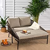 Contemporary, Comfortable and Eye Catching Strong UV Treated Easy Care All Weather Battle Creek Patio Wicker Daybed with Taupe/Gray Cushions - Sets The Mood for Fun, Romance Or Just A Quiet Time!