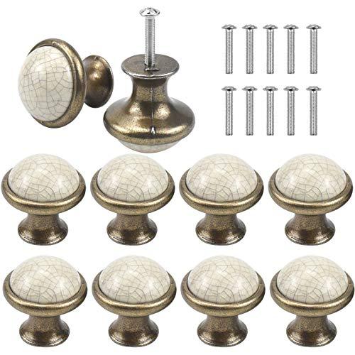 AvoDovA 10PCS Ceramica Pomelli per Porta, 33MM Vintage Pomolo per Maniglia, Manopole per Mobili da Cucina Pomelli per Mobili, Maniglia per Armadietto, Pomelli Per Cassetti Cucina Armadio Antichi