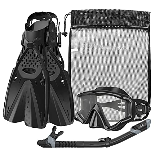 YLJXXY Máscara y Aletas de Buceo, Set de Snorkelling con Gafas de Buceo, Funda Aletas y Snorkel Tubo, para Unisex Adulto