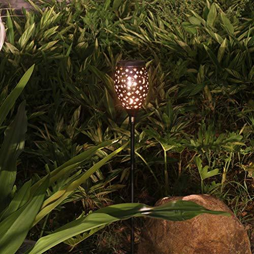 Uonlytech 2 Piezas de Luces Solares Al Aire Libre a Prueba de Agua Huecas Luna Y Estrella Estacas de Jardín Solar Luz Luz de Paisaje con Energía Solar para Sendero de Camino de Patio de Jardín